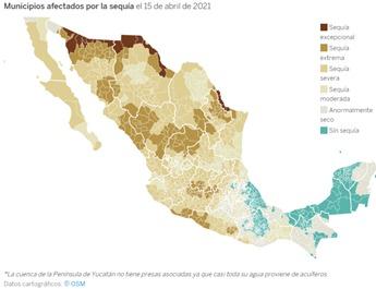 Monitor de sequía en México en los estados.